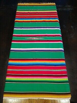 Vtg Mexican Serape Blanket Yoga Rug Sarape Saltillo Tablecloth Table Runner • 22.08£