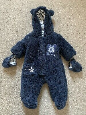 Official Disney Mickey Mouse Pramsuit Snowsuit Baby Newborn Size 0-3 Months Boys • 8.99£