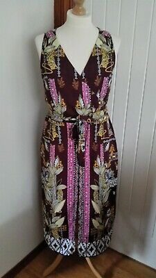 Stunning Aztec Patterned Split Front Midi Dress From River Island Size 16 • 3.50£