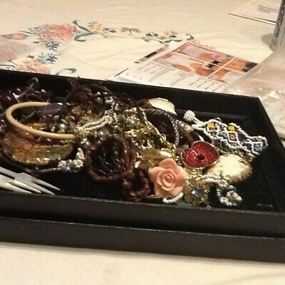 Joblot Of Vintage  Costume Jewellery And Curios  Inc Thimbles  MOP Forks Etc • 4.99£