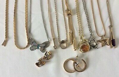 Vintage Gold & Silver Tone Large Signed Retro  Jewellery Joblot Collection • 9.99£