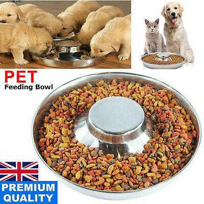 £9.95 • Buy Puppy Dog Pet Cat Litter Food Feeding Weaning Silver Stainless Feeder Bowl Dish