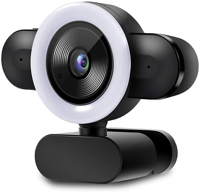 MULY Streaming Webcam, 2K Full HD Webcam With Ring Light, Webcam With Built-in • 36.34£