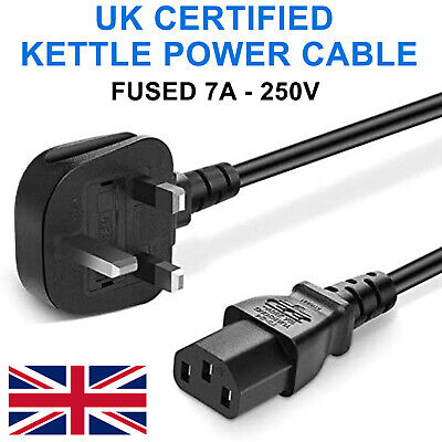 £6.45 • Buy Uk 3 Pin Kettle Lead Power Cable Plug Cord For Tv Pc Monitor Printer Kettle