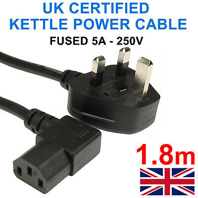 1.8m Right Angle Angled Power Cord Uk Plug To Iec C13 Cable Kettle Main Uk Lead • 5.95£