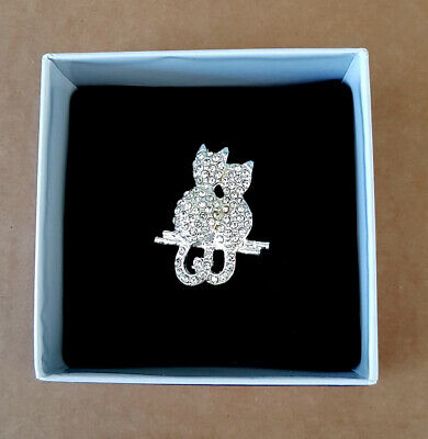 Pair Of Cats ~ Boxed Costume Brooch By Buckingham ~ Silver Metal DiamantÉ • 4.50£