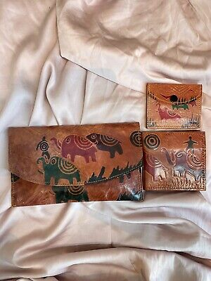 Leather Purse With Matching Wallet And Coin Purse Decorated With Elephants • 5£