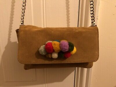 Zara Small Shoulder Bag Chain Real Suede Leather Multicolour Tan • 8.99£