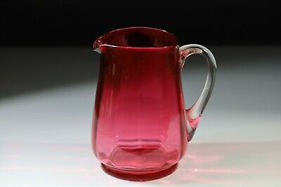 Antique Victorian Hand Blown Glass Cranberry Water Jug • 19£
