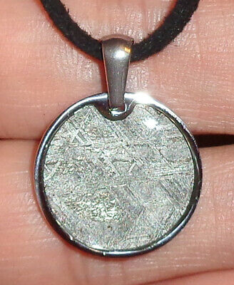 Genuine Meteorite Necklace! Sliced Muonionalusta Meteor In A Stainless Pendant! • 16.75£