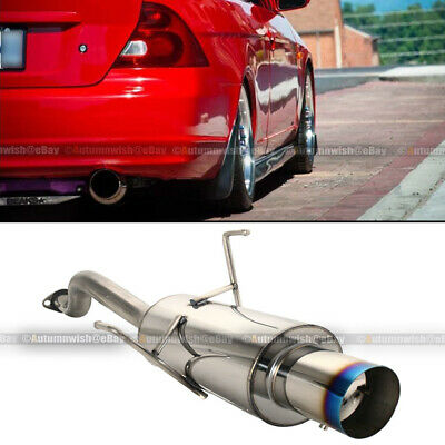 $79.99 • Buy Fits 01-05 Civic 2/4 DR Stainless Steel Axle Back Exhaust Muffler Blue Burnt Tip