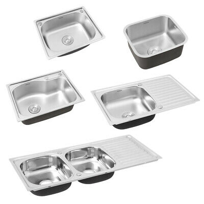 Stainless Steel Kitchen Sink Commercial Catering Single Double Bowl Drainer Kit • 95.95£