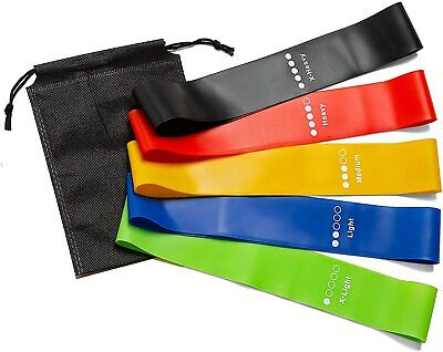 AU12.99 • Buy Set Of 5 Resistance Bands, Workout Fitness Exercise Loop Bands With Carry Case
