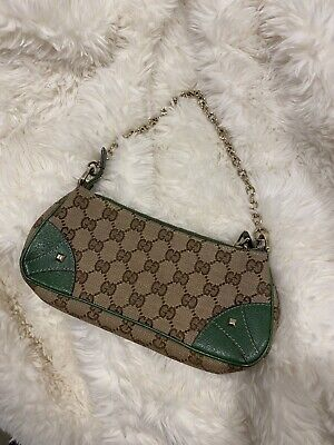 AU700 • Buy Vintage GUCCI Canvas Leather Shoulder Bag 100% Authentic