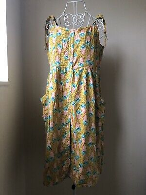 Button Down Yellow Pineapple Print Summer Dress Size 14 • 3.99£