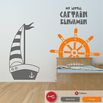 £1.99 • Buy Personalised Sailing Boat Wall Sticker Nautical Ship Themed Boys Bedroom Decal