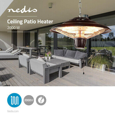 2000W Patio Heater Hanging Ceiling Mounted IP24 2kW 1.4m Cable Halogen Heater • 79£