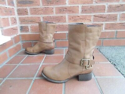 CLARKS Tan Leather Biker Style Boots * 6 Uk * FAB CONDITION • 9.99£