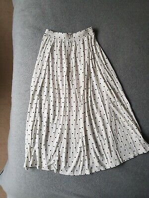 ASOS DESIGN White Polka Dot Midi Skirt Size 8 • 13£