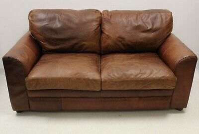 Vintage Style Halo Brown Leather 2 Seater Sofa • 375£