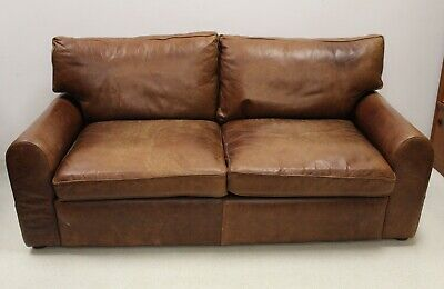 Vintage Style Halo Brown Leather 2 To 3 Seater Sofa • 450£