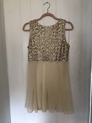 TOPSHOP Concession TFNC Cream Gold Sequin Chiffon Party Dress Embellished M 12 • 6.50£