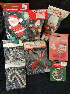 $ CDN16.39 • Buy NOS Lot Of 8 Vintage Christmas Ornaments Various Sizes Decorations NICE LOT