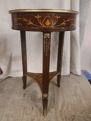 Beautiful  Inlaid Marquetry Occasional Circular Side Table • 149.99£