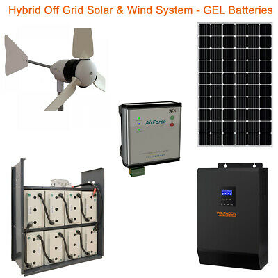 £6195 • Buy Hybrid Off Grid Solar Kit With 1kW Wind Turbine & 5kW Inverter 14kWh Battery 48V
