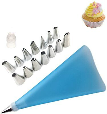 £3.99 • Buy Cake Decorating Set 14 Piping Nozzles Reusable Pastry Bag Diy Baking Accessories