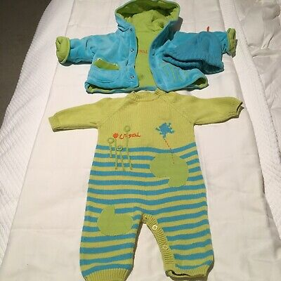 £13.08 • Buy Petit Marese Baby Boys Romper Jacket & Hat Sz 3 Mos Green And Blue