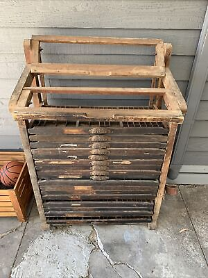 AU899 • Buy Antique Printer Tray Stand With 17 Trays; Decorative; Vintage; Collectable