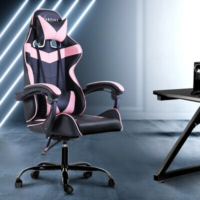 AU368.99 • Buy Artiss Office Chair Gaming Computer Recliner PU Leather Seat Armrest Black Pink
