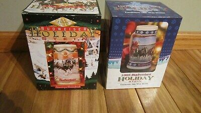 $ CDN44.43 • Buy Lot 1996 & 1995 Budweiser Holiday Stein  Lighting The Way Home  New In Box
