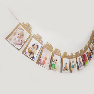 £3.98 • Buy 12 Months Photo Frame Banner Baby Shower Baby Boy Girl First Year Party Supplies