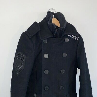 £39 • Buy Superdry Navy Label Pea Coat Wool Black Size Small