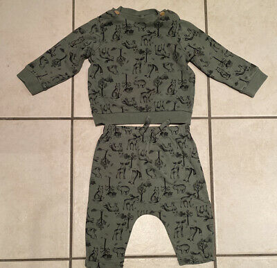 Baby Boys Green Forest Print Sweater And Bottoms 3-6 Month • 2.50£