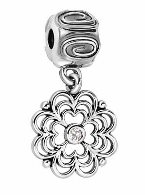 Clip On Spacer Charm Bead 925 Silver Flower Stopper - Gift For Valentine's Day • 6.95£