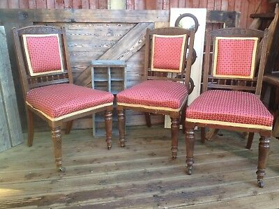 Set Of 3 Ornate Hand Carved Chairs With Front Brass Casters • 40£