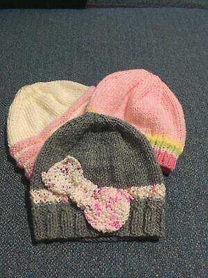3 X Baby Girl Hand Knitted Brand New Hats 12-18 Months • 3£