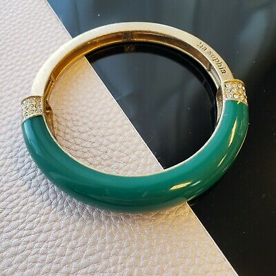 $ CDN3.78 • Buy Lia Sophia Green Enamel Gold Tone Rhinestones Bangle Stretch Bracelet Sz M 2.5 D
