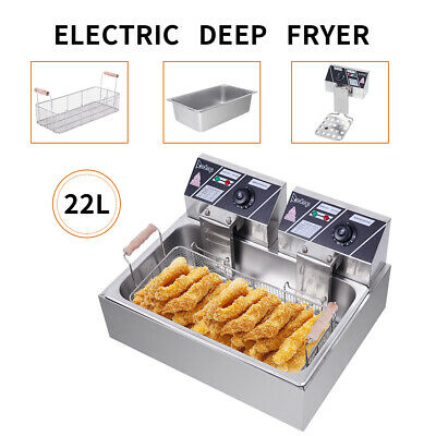 £64.82 • Buy 22L Electric Deep Fryer Large Single Tank Frying Cooking Machine Commercial UK