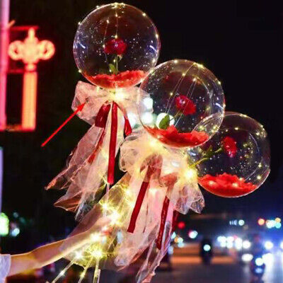AU10.45 • Buy Valentines Day Gift LED Luminous Balloon Rose Bouquet Transparent Bobo Ball Rose