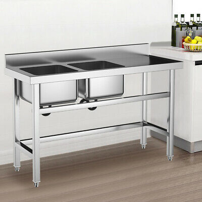£245.95 • Buy Commercial Kitchen Catering Stainless Steel Sink Double Deep Bowl Basin Drainer