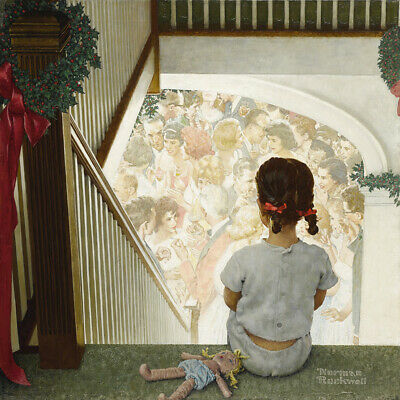 $ CDN44.64 • Buy Norman Rockwell Girl Looking Downstairs At Christmas Party Canvas Print  #3452