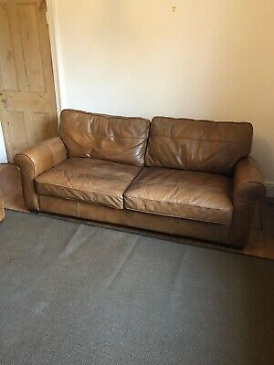 Halo - Real Leather Tan Sofa • 120£