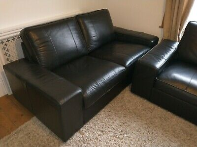 3 + 2 Seater Real Leather Black IKEA Kivik Sofas. Free Delivery Within 15 Miles • 700£