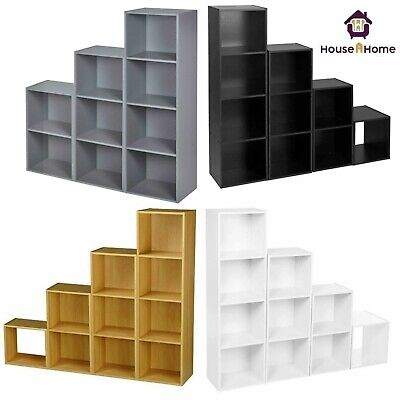 Wooden Storage Unit Cube 2 3 4 Tier Strong Bookcase Shelving Home Office Display • 22.95£