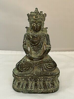 Antique Miniature Chinese Bronze Buddha Statue • 72.93£