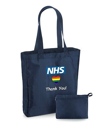 Thank You NHS - Folding Water Resistant Polyester Tote Shopping Bag For Life  • 5.95£